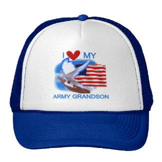 Amo mis camisetas y regalos del nieto del ejército gorro