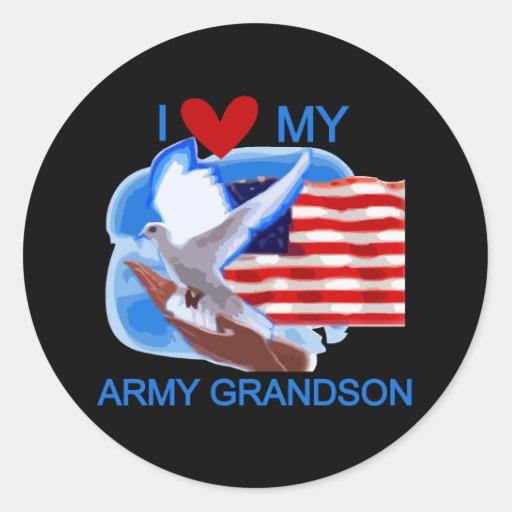 Amo mis camisetas y regalos del nieto del ejército pegatinas redondas