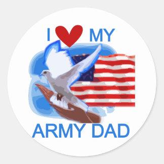 Amo mis camisetas y regalos del papá del ejército pegatina redonda