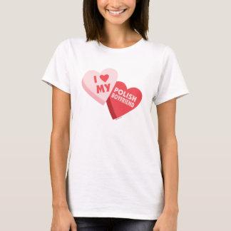 Amo mis corazones polacos del caramelo del novio camiseta