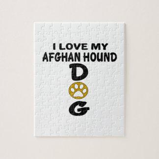Amo mis diseños del perro de afgano puzzle