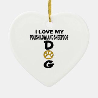 Amo mis diseños polacos del perro del perro pastor adorno navideño de cerámica en forma de corazón