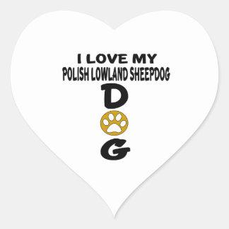Amo mis diseños polacos del perro del perro pastor pegatina en forma de corazón