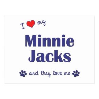 Amo mis enchufes de Minnie (los perros múltiples) Postal