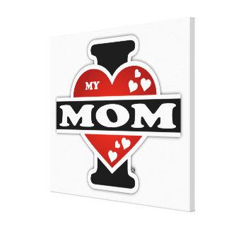 Amo mis latidos del corazón de la mamá lona envuelta para galerias