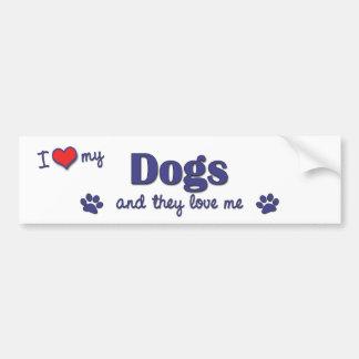 Amo mis perros (los perros múltiples) pegatina para coche