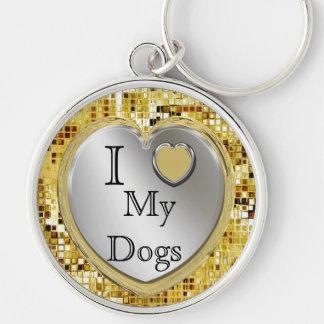 ¿Amo mis perros o? Llavero del corazón