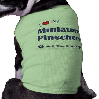 Amo mis Pinschers miniatura (los perros múltiples) Camiseta Sin Mangas Para Perro