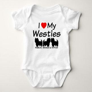 Amo mis tres perros de Westie Body Para Bebé