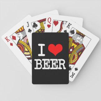 Amo naipes divertidos de la cerveza
