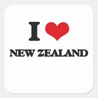 Amo Nueva Zelanda Pegatina Cuadrada