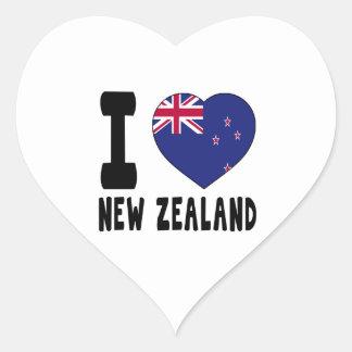 Amo Nueva Zelanda Pegatina En Forma De Corazón