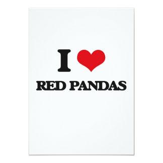 Amo pandas rojas invitación 12,7 x 17,8 cm