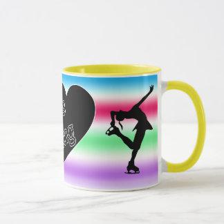 Amo patinaje artístico, corazón, taza colorida