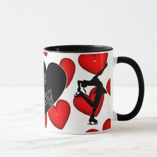 Amo patinaje artístico, los corazones y taza del