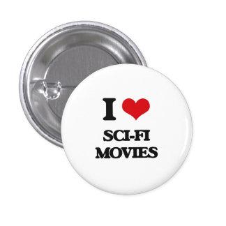 Amo películas de la ciencia ficción chapa redonda 2,5 cm