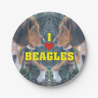 Amo perritos del beagle de los beagles plato de papel