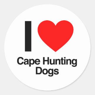 amo perros de caza del cabo pegatinas redondas