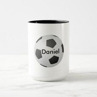 Amo personalizable en blanco del fútbol taza