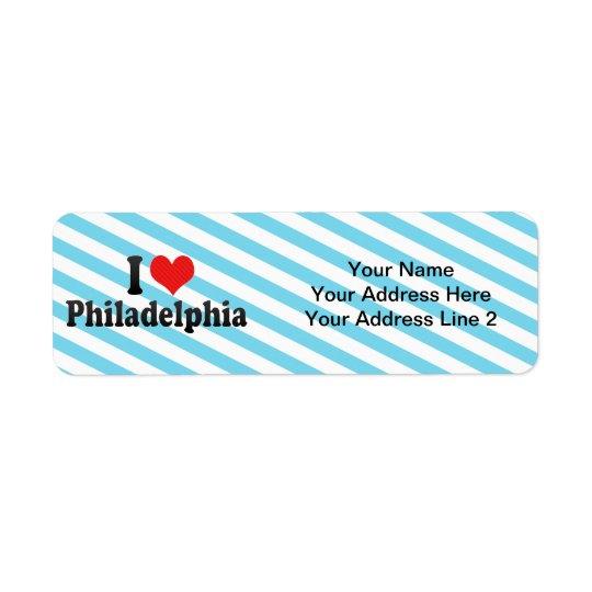 Amo Philadelphia Etiqueta De Remite
