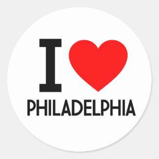 Amo Philadelphia Pegatina Redonda