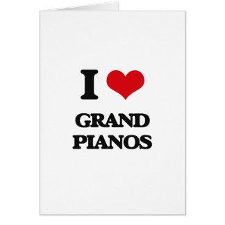 Amo pianos de cola tarjeta de felicitación