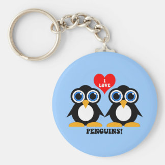 Amo pingüinos llavero redondo tipo chapa