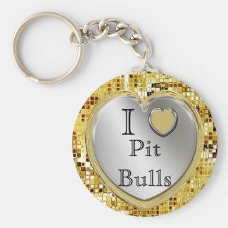 ¿Amo pitbulls o? Llavero del corazón