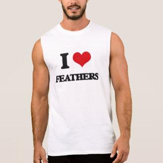 Amo plumas camisetas sin mangas