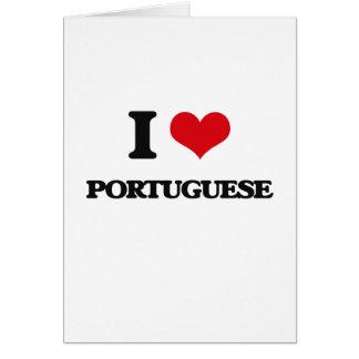 Amo portugués tarjeta de felicitación