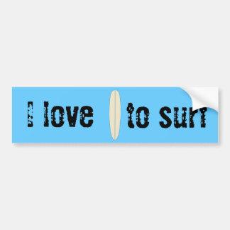 Amo practicar surf pegatina para coche