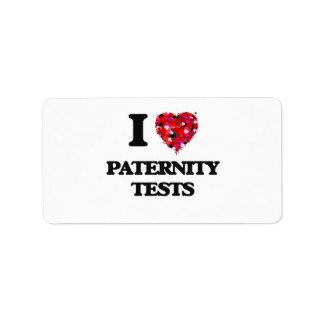Amo pruebas de paternidad etiquetas de dirección