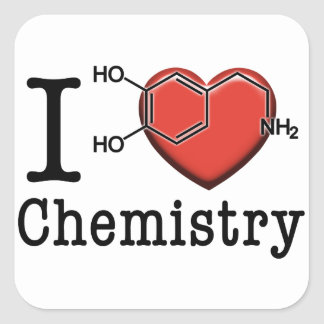 Amo química pegatina cuadrada