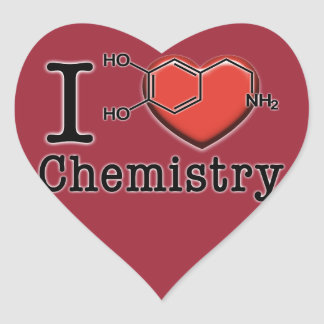 Amo química pegatina en forma de corazón