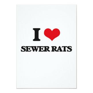 Amo ratas de alcantarilla invitación 12,7 x 17,8 cm