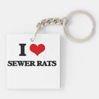 Amo ratas de alcantarilla llavero cuadrado acrílico a doble cara
