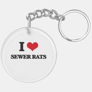 Amo ratas de alcantarilla llavero redondo acrílico a doble cara