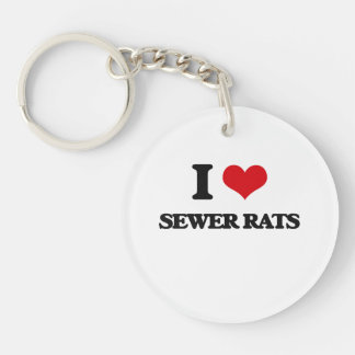 Amo ratas de alcantarilla llavero redondo acrílico a una cara