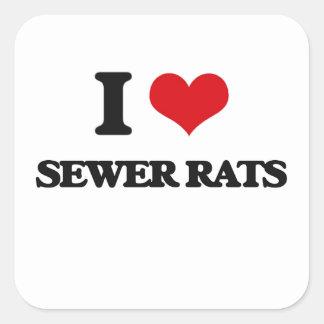 Amo ratas de alcantarilla pegatina cuadrada