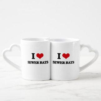 Amo ratas de alcantarilla tazas para enamorados