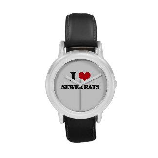 Amo ratas de alcantarilla relojes de pulsera