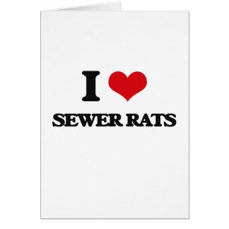 Amo ratas de alcantarilla tarjeta de felicitación
