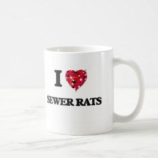 Amo ratas de alcantarilla taza básica blanca
