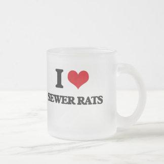 Amo ratas de alcantarilla taza de cristal