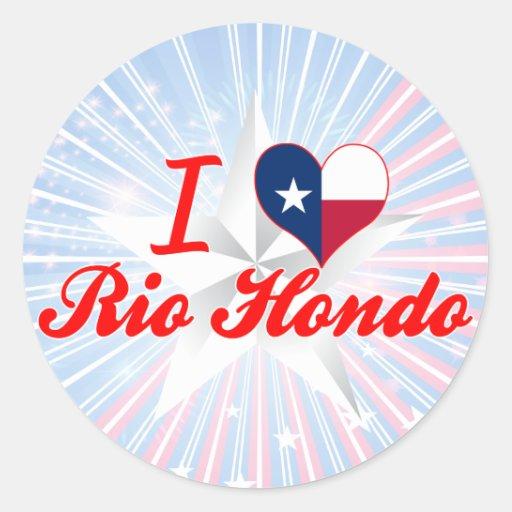 Amo Río Hondo, Tejas Pegatinas Redondas