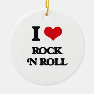 Amo rock-and-roll adorno redondo de cerámica