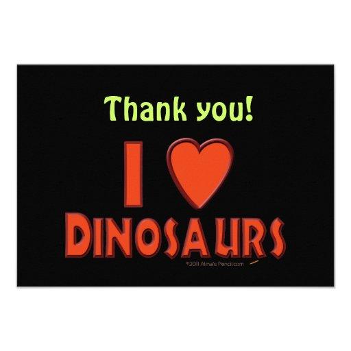 Amo (rojo del amante del dinosaurio de los dinosau invitacion personal