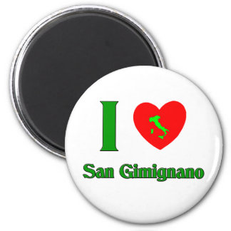 Amo San Gimignano Italia Imán Redondo 5 Cm