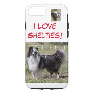 Amo Shelties - azul del BI, Shelti- hecho frente Funda iPhone 7