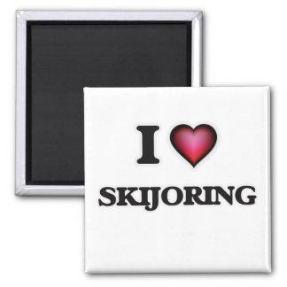 Amo Skijoring Imán Cuadrado